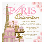Pink and Gold Paris Quinceanera Card