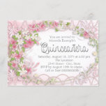 Pink and Gray Floral Quinceañera Invitation