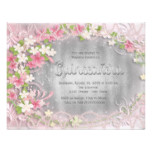 Pink and Silver Foil Floral Quinceañera Card