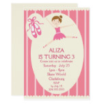 Pink Ballerina Birthday Party Card