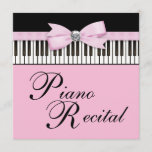 Pink Black & White Piano Keys Recital Invitation