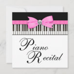 Pink Black and White Piano Keys Recital Invitation
