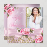 Pink Fabulous 50 Rose Bow Photo Birthday Party Invitation