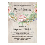 Pink Flowers and Feathers Boho Bridal Shower Card