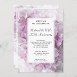 Pink Hydrangea Wedding Anniversary Party Invitation