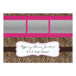 pink leopard print photo film strip Graduation Invitation