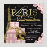Pink Paris Quinceanera Invitation