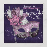 Pink Purple Sweet 16 Masquerade Party Invitation