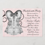 Pink Rose Corset Pink Black Bachelorette Party Invitation