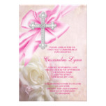 Pink Rose Cross First Communion Card