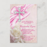 Pink Rose Cross First Communion Invitation