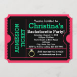 Pink/Teal Bachelorette Party Ticket Invitation