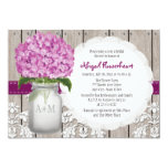 Plum Hydrangea Mason Jar Bridal Shower Invitation
