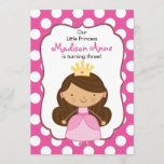 Polka Dot Princess Birthday Invitation Brunette