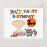 Pool Party 3rd Birthday T-shirts and Gifts Invitation Postcard
