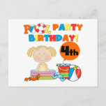 Pool Party 4th Birthday Tshirts and Gifts Invitation Postcard