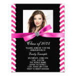 Pretty Pink Chevron Photo Graduation Invitation