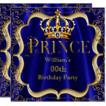 Prince Birthday Royal Blue Gold Crown Mens 2 Card