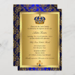Prince Royal Blue Regal Crown Baptism Invite