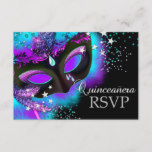 Purple & Teal Masquerade Quinceanera RSVP
