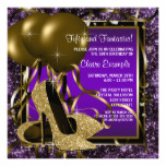 Purple and Gold High Heels Womans Birthday Party Card