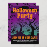 Purple haunted graveyard Halloween party Invitation