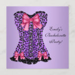 Purple Leopard Corset Bachelorette Party Invitation