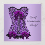 Purple Leopard Corset Purple Bachelorette Party Invitation