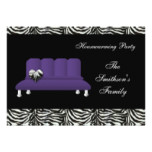 Purple Modern Sofa Housewarming Party Invitatio Card