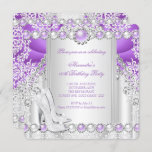 Purple Silver High Heels Pearl Birthday Party 2 Invitation