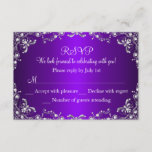 Purple Silver Pearl Damask Sweet 16 RSVP