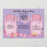 Purple Slumber Birthday Party Invitation