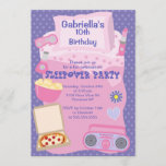 Purple Slumber Party Fun Birthday Invitation