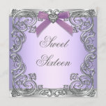 Purple Sweet 16 Birthday Party Invitation
