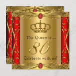 Queen or King Regal Red Gold 80th Birthday Party Invitation