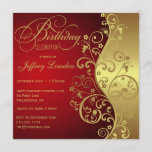 Red & Gold Birthday Party Invitation