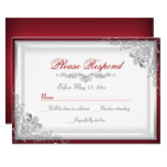 Red & Silver Damask RSVP Reply Invitation