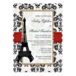 Red and Black Damask Eiffel Tower Wedding Card