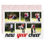 Red and black New Year Cheer six photo collage Card