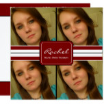 Red and Black Ribbon Photo Graduation Card