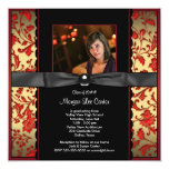 Red Black Damask Photo Graduation Announcement
