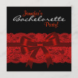 Red Black Lace Bachelorette Party Invitation