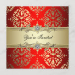 Red Gold Damask Party Invitation