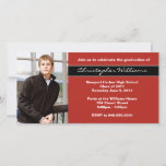 Red Graduation Invitation Announcement Cards