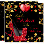Red High Heels Gold Balloons Birthday Party Invitation