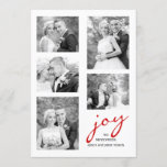 Red joy newlyweds five photo collage Christmas Holiday Card