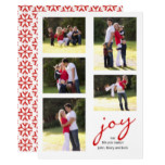 Red joy, snowflakes photo collage Christmas Card