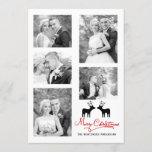 red Merry Christmas deer newlyweds photo collage Holiday Card