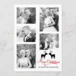 Red Merry Christmas script newlyweds photo collage Holiday Card