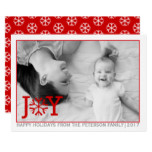 "Red ""JOY"" - trendy Christmas holiday flat photo Card"